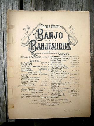 Antique Banjo Banjeaurine Sheet Music 1891 Valentine Schottische Guitar Mandolin photo