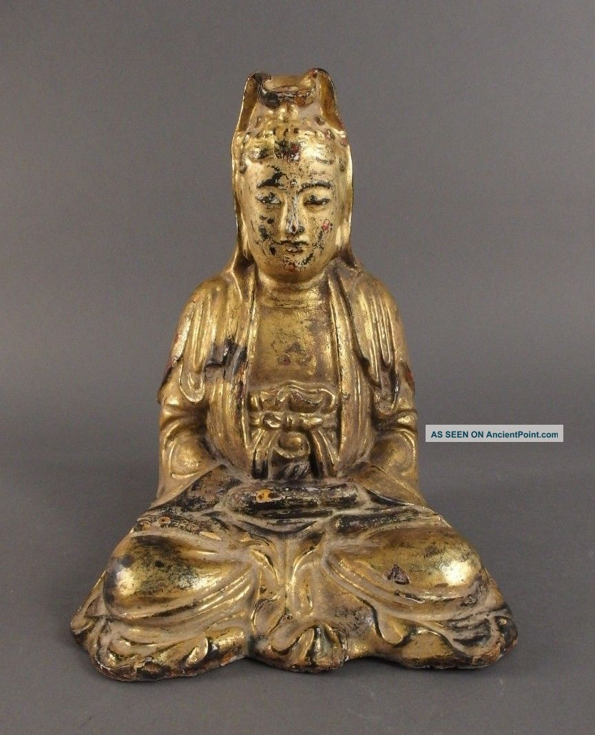 Antique Chinese Qing Dynasty Gilt Lacquer Bronze Buddha Seated Dhyanasana 12
