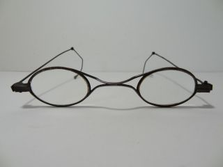 Unusual Early Antique Metal Spectacles Eyeglasses Movable Adjustable Ear Piece photo