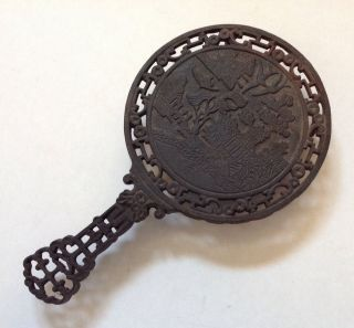 Antique Cast Iron Footed Trivet Chinoiserie Chinese Hand Mirror Form Rdno 249860 photo