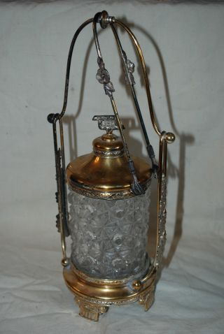 Pairpoint Castor Pickel Jar Eagle Claw Tongs Daisy Button Glass Gold Silverplate photo