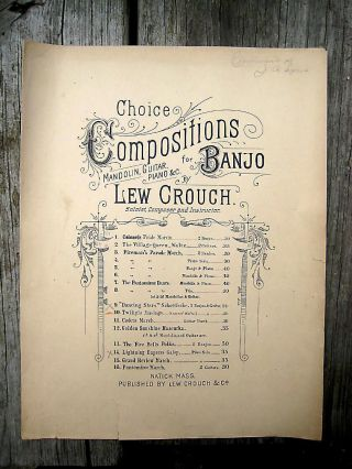 Antique Vintage Banjo Trio Sheet Music 1891 Lew Crouch Twilight Musings Waltz photo