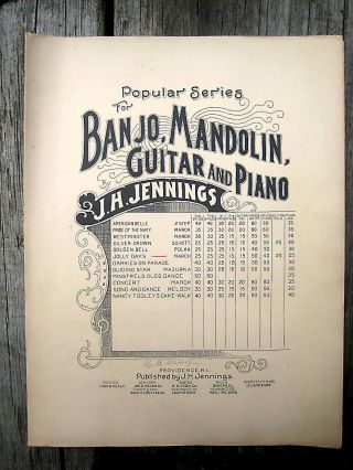 Antique Vintage Guitar Mandolin Sheet Music 1898 J H Jennings Jolly Days March photo