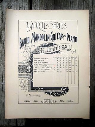 Antique Vintage Banjo Duo Sheet Music 1894 J H Jennings Niagara Rapids Galope photo