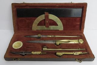 Rare Antique Drawing Instruments Box - China Ink Dish.  1850 - 60s photo