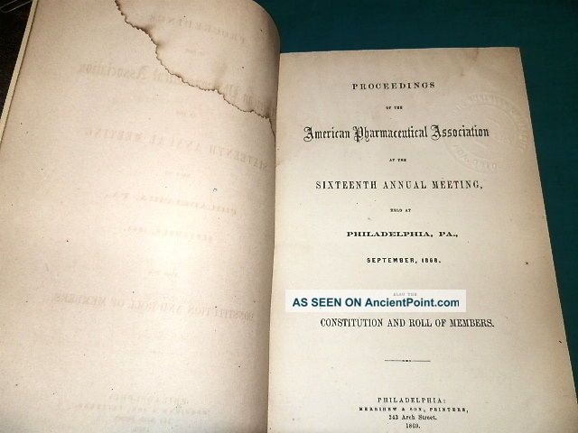 351a,  Proceedings Of American Pharmaceutical Association 1868,  Rare Other photo