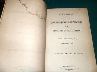 351a,  Proceedings Of American Pharmaceutical Association 1868,  Rare photo