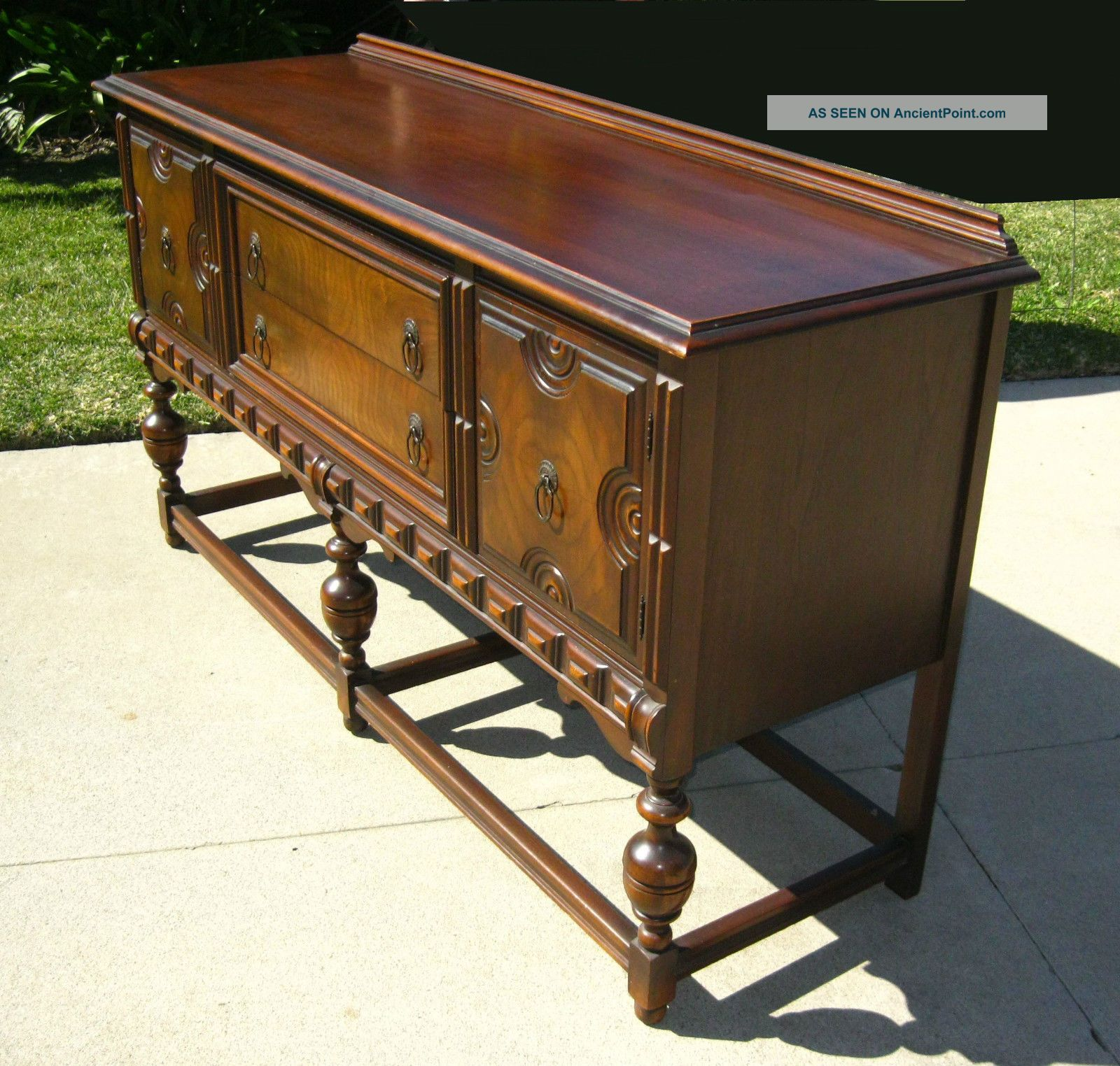 Gorgeous Vintage Spanish Revival Ornate Buffet Sideboard Credenza Post-1950 photo
