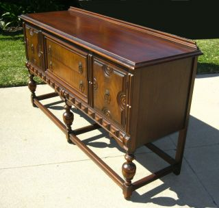 Gorgeous Vintage Spanish Revival Ornate Buffet Sideboard Credenza photo