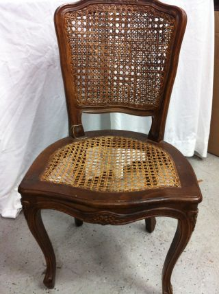 1950 ' S Queen Anne Style Walnut Wicker Empire Chair Hand Woven Local P/u Only photo