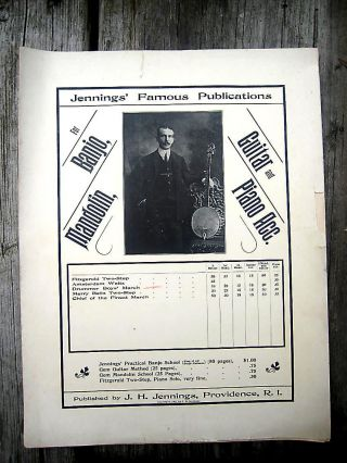 Antique Vintage Banjo Photo Sheet Music 1902 J H Drummer Boys March J H Jennings photo