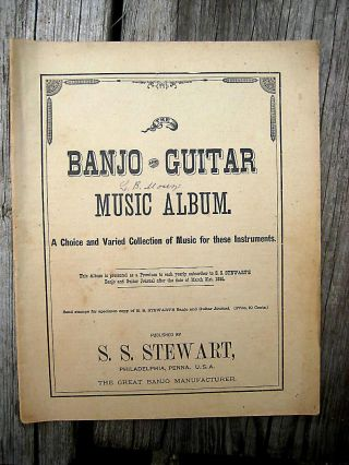 Antique Vintage Banjo Guitar Sheet Music Song Album 1882 S S Stewart Chinese photo