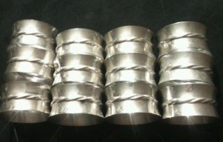Towle Sterling Silver Flutes 925 Twelve (12) Napkin Ring Holders 102 Exc Nr photo