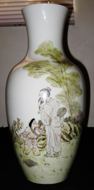 Chinese Yu,  Wenxiang Artist Work On Porcelain Famille Rose Vase,  Circa 1910 - 1993. photo