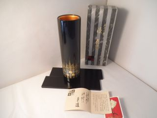 Japanese Wajima Lacquer Flower Vase With Trays photo
