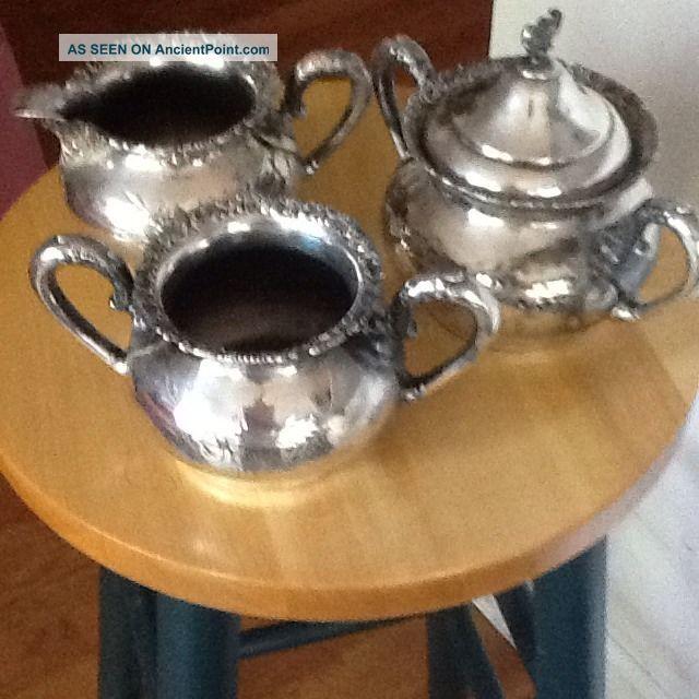 Vintage Van Berch Quadruple Plate Cream Pitcher,  Sugar Bowl And Spoon Holder Creamers & Sugar Bowls photo
