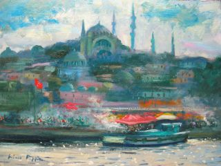 Orientalist Painting Of Istanbul Constantinople Turkey The Golden Horn 9