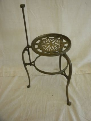 Antique Fireplace Hearth Tool Brass Standing Pot Trivet,  Compass Rose,  Card Design photo