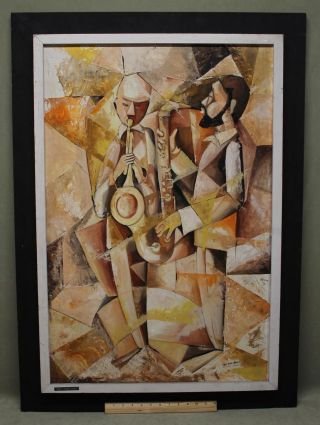 Vintage American Modernist Cubist Oil Painting Trumpet Saxophone Jazz Musicians photo
