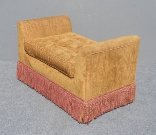 Vintage Tan Velvet Ottoman Bench W Red Tassels And Armrests Loveseat photo