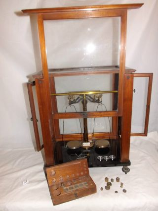 Rare Set Of Brass Cased Balance Scales In Glass & Wood & Weights Pharmaceutical photo