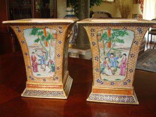 Antique Chinese Pair Famille Rose Bough Pot Vase,  18th C,  Qianlong photo