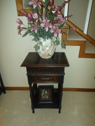 Dark Oak Barley Twist Sewing Box Plant Stand Cabinet W/caned Sides From Scotland photo