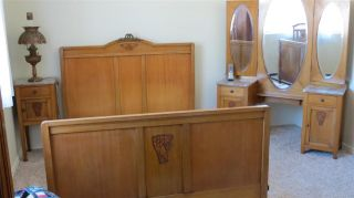 Antique Art Nouveau French Country Ash 3 Piece Bedroom Set Bed & More Arizona photo