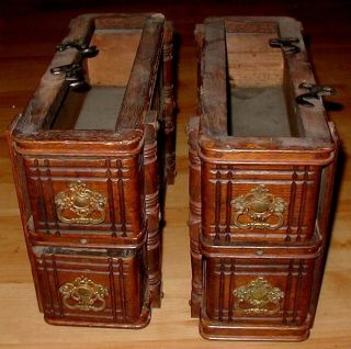 4 Rare Early 1900 ' S Antique Ornate Oak Treadle Sewing Machine Drawers & Frame. photo