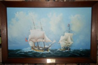 Maritime Nautical Clipper Ship Oil Painting Uss Constellation Frigate 1799 44x28 photo