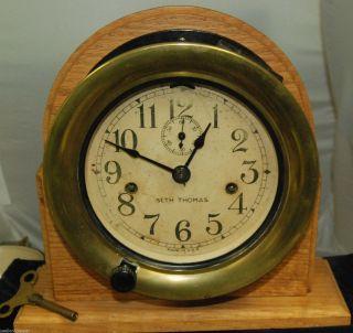 Vintage Seth Thomas Maritime Clock W/key (operates),  Est.  Early 1940 ' S - Ks101 photo