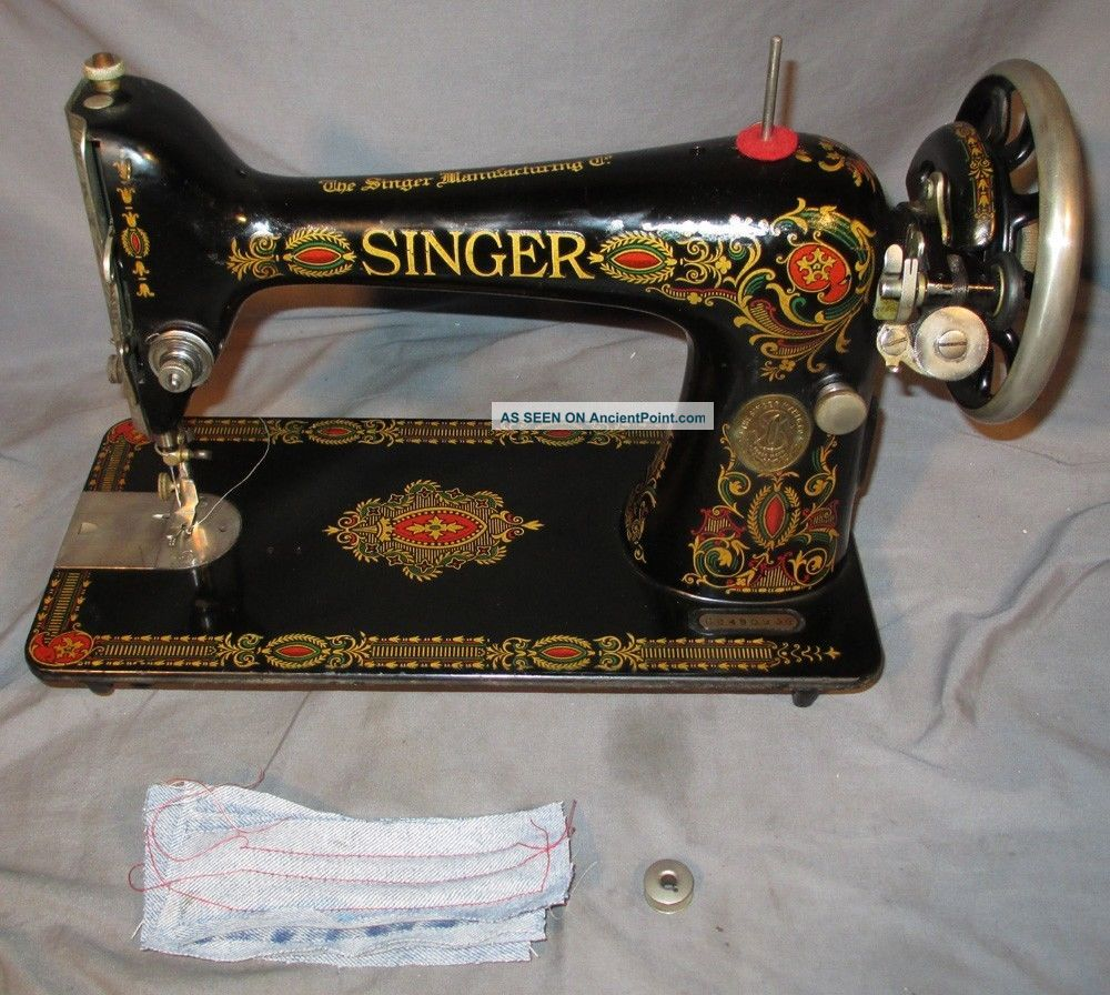Serviced Antique 1920 Singer 66 - 1 Red Eye Treadle Sewing Machine Works See Video Sewing Machines photo