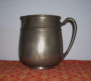 Pitcher Colonial Pewter Full Body 5 Pints Old Vintage Semi Antique R H Macy Ware photo