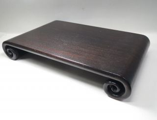 E254: Japanese Wooden Display Stand Made From Popular Karaki With Roll Leg. photo