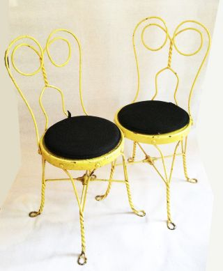 Set Of 2 Vintage Yellow Twisted Wire Wrought Iron Ice Cream Parlor Chairs photo