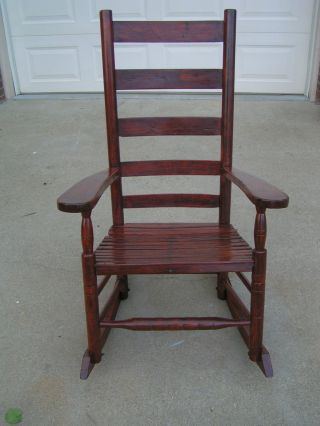 Early Antique Wooden Rocking Chair Five Slat High Back Huge 43