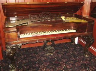 W.  P.  Emerson Square Grand Piano 1870s Boston,  Mass Rococo Victorian Style W/bench photo
