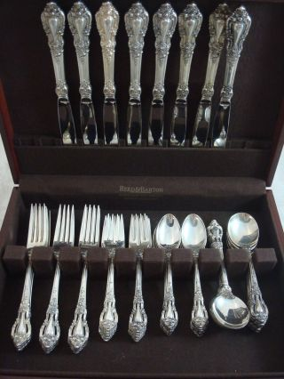 Eloquence By Lunt Sterling Silver Flatware Service Set 40 Pieces Dinner Size photo