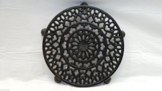 Antique Cast Iron Griswold Old Lace Trivet photo