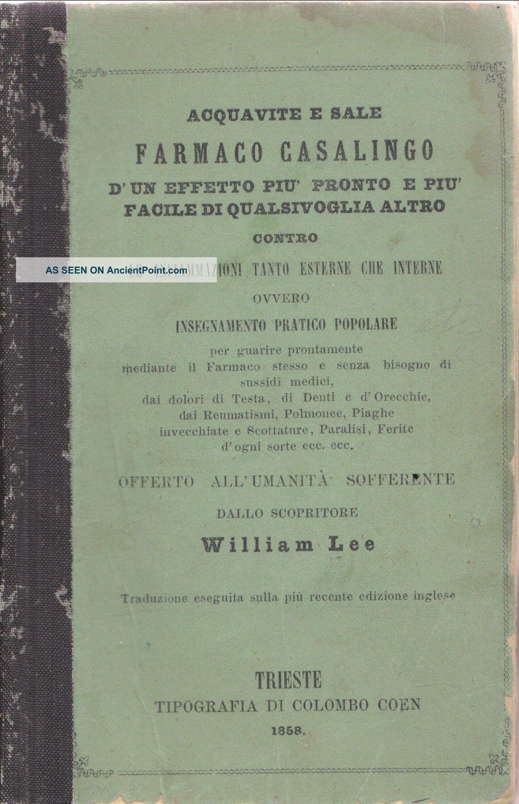 1858 Health Almanac Brandy & Salt Inflamation Famaca Casalingo D ' Un. .  Italian Other photo