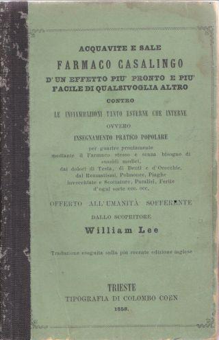 1858 Health Almanac Brandy & Salt Inflamation Famaca Casalingo D ' Un. .  Italian photo