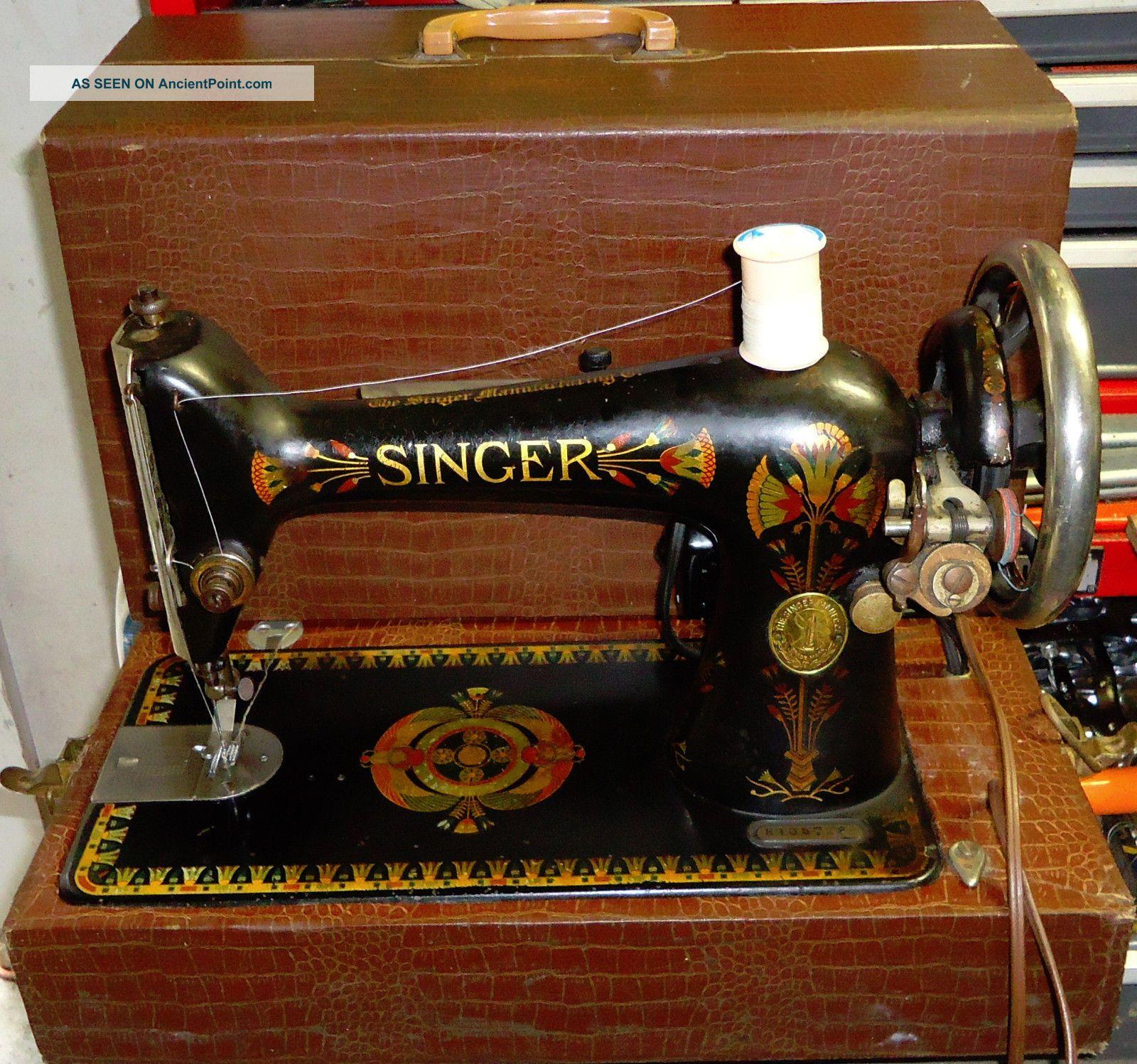 Singer Model 66 Electrified/motorized,  Portable Sewing Machine W/ Alligator Case Sewing Machines photo