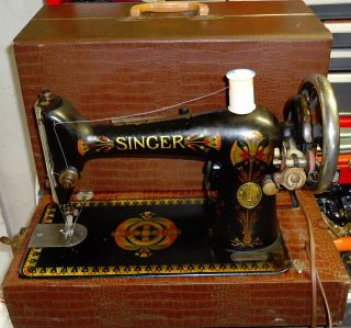 Singer Model 66 Electrified/motorized,  Portable Sewing Machine W/ Alligator Case photo