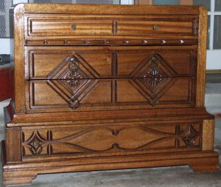 Vintage Art Deco Barker Bros.  Mahogany 4 Drawer Dresser/chest photo