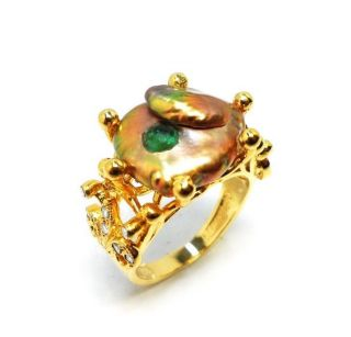 Rose Cut Diamond,  Natural Emerald & Pearl Gold Plated Handmade Jewelry Ring 8us photo