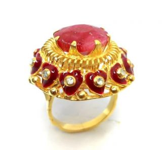Rose Cut Diamond & Ruby Authentic Gold Plated Vintage Look Jewelry Ring Size 8.  5 photo