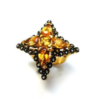 Rose Cut Diamond & Citrine Gold Plated Antique Look Jewelry Ring Size Us 7.  5 photo