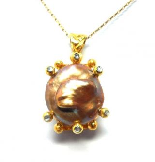 Rose Cut Diamond And Natural Pearl Gold Plated Antique Look Jewelry Pendant photo