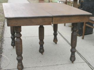 Antique Square Oak Dining Table On 5 Fat Turned Legs photo