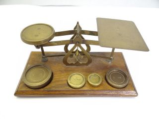 Antique Old Wood Metal Brass England Guaranteed Accurate Postal Merchants Scale photo